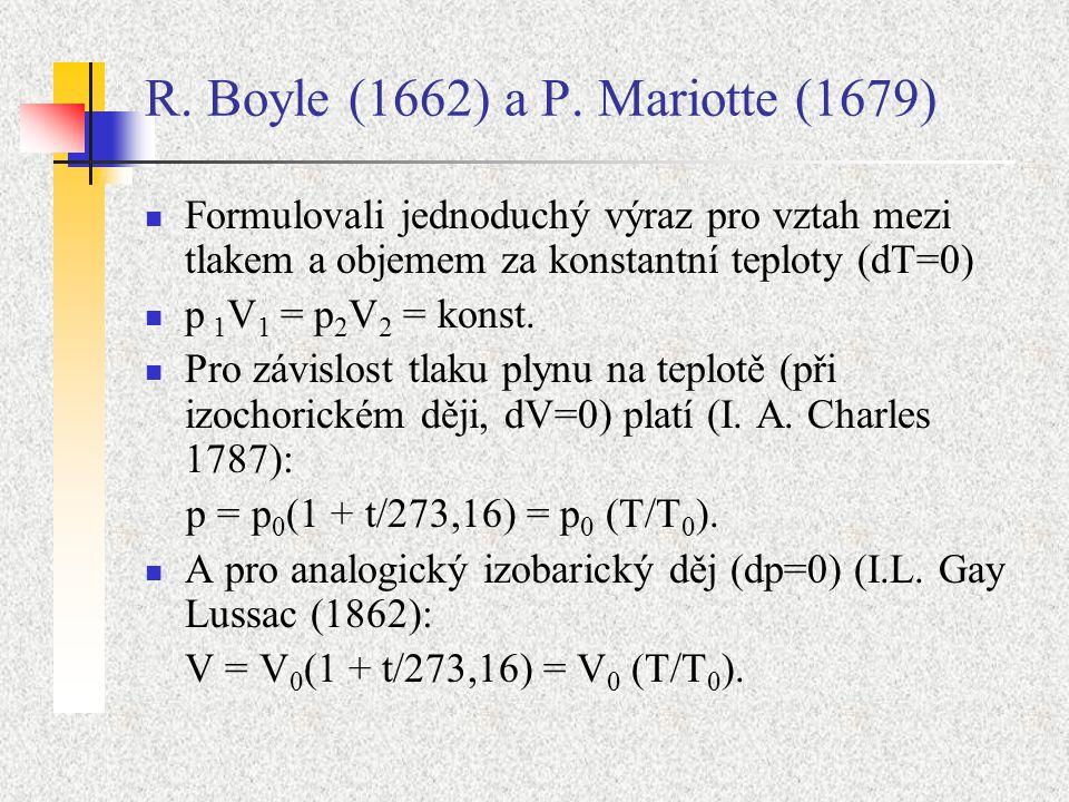 R. Boyle (1662) a P. Mariotte (1679) Formulovali jednoduchý výraz pro vztah mezi tlakem a objemem za konstantní teploty (dT=0) p 1 V 1 = p 2 V 2 = kon