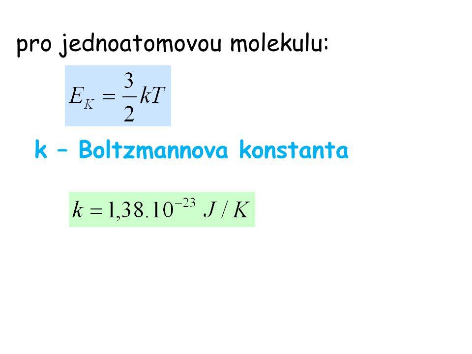 pro jednoatomovou molekulu: k – Boltzmannova konstanta