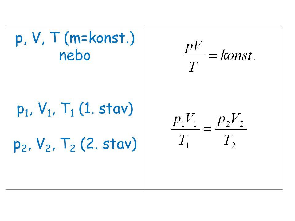 p, V, T (m=konst.) nebo p 1, V 1, T 1 (1. stav) p 2, V 2, T 2 (2. stav)