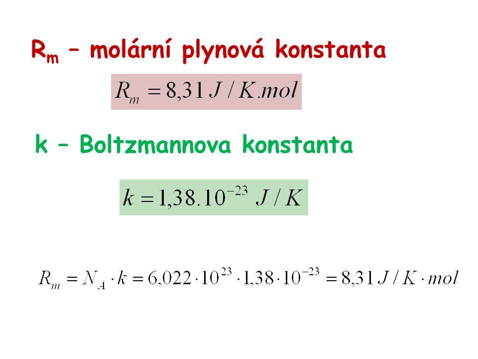 R m – molární plynová konstanta k – Boltzmannova konstanta