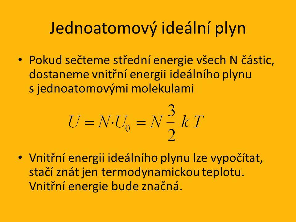 Jednoatomový ideální plyn Pokud sečteme střední energie všech N částic, dostaneme vnitřní energii ideálního plynu s jednoatomovými molekulami Vnitřní energii ideálního plynu lze vypočítat, stačí znát jen termodynamickou teplotu.