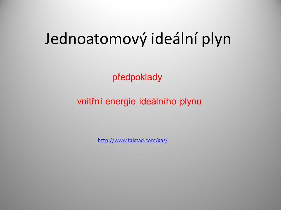 Jednoatomový ideální plyn http://www.falstad.com/gas/ předpoklady vnitřní energie ideálního plynu