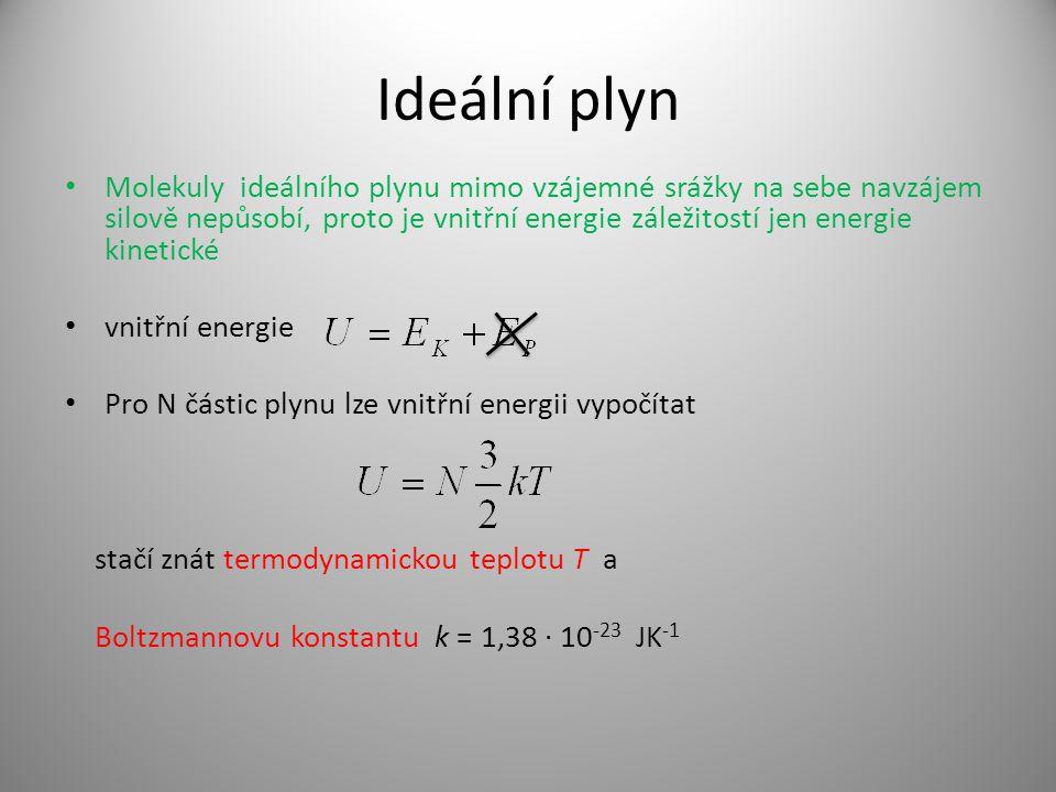 Ideální plyn Molekuly ideálního plynu mimo vzájemné srážky na sebe navzájem silově nepůsobí, proto je vnitřní energie záležitostí jen energie kinetické vnitřní energie Pro N částic plynu lze vnitřní energii vypočítat stačí znát termodynamickou teplotu T a Boltzmannovu konstantu k = 1,38 · 10 -23 JK -1