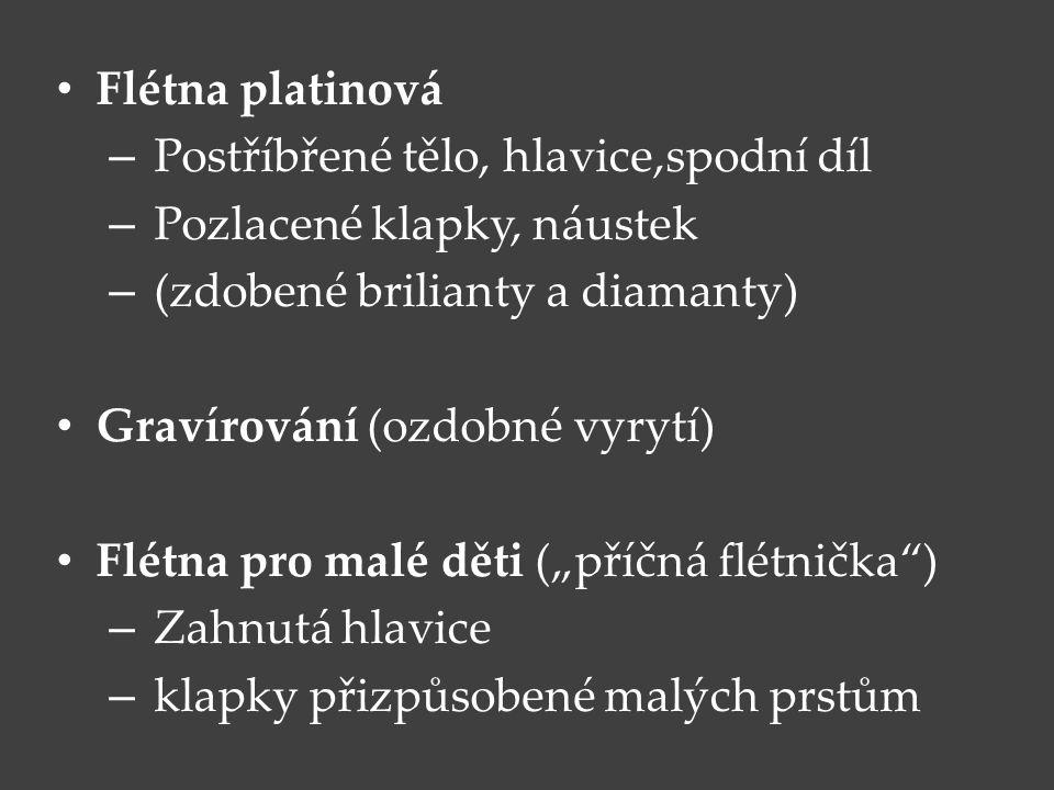 Flétna platinová – Postříbřené tělo, hlavice,spodní díl – Pozlacené klapky, náustek – (zdobené brilianty a diamanty) Gravírování (ozdobné vyrytí) Flét