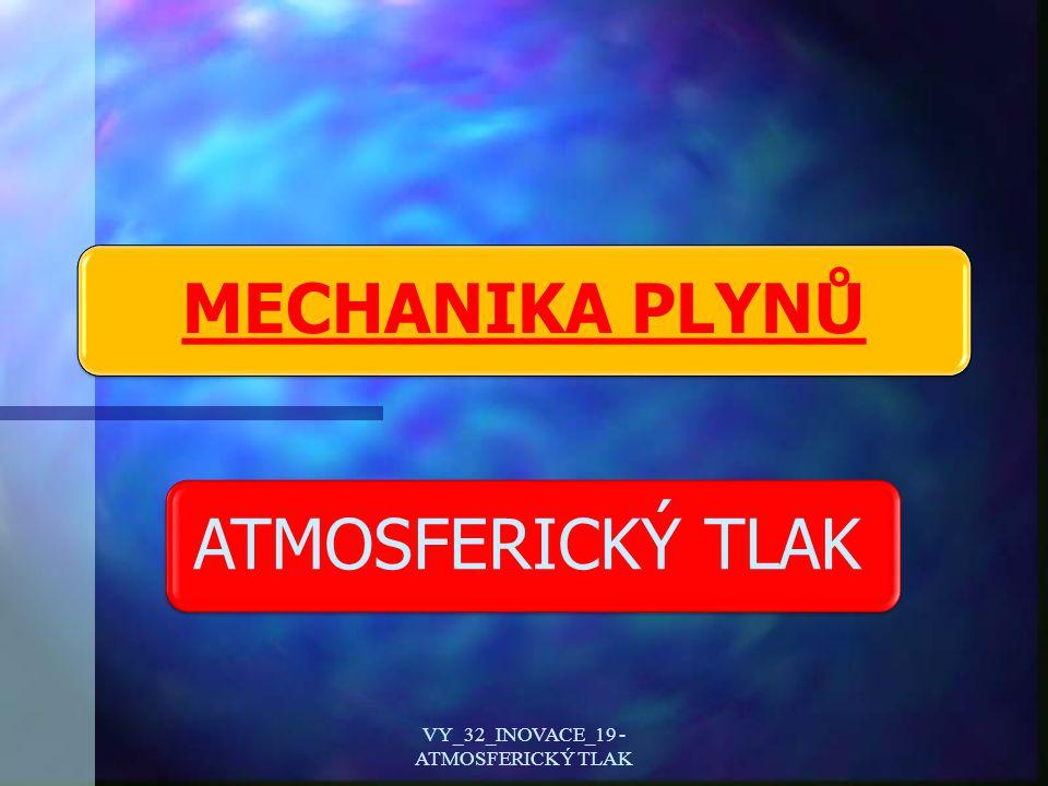 Plyny a atmosféra Země Vlastnosti plynů VY_32_INOVACE_19 - ATMOSFERICKÝ TLAK