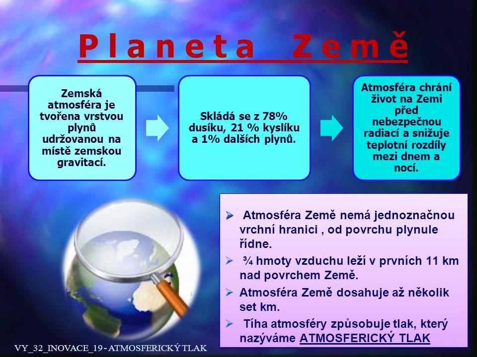 P l a n e t a Z e m ě Zemská atmosféra je tvořena vrstvou plynů udržovanou na místě zemskou gravitací. Skládá se z 78% dusíku, 21 % kyslíku a 1% další