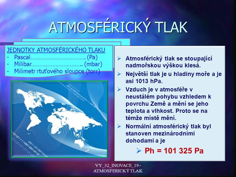 Evangelista Torricelli Pokus, který se stal základem k měření atmosférického tlaku se nazývá Torricelliho pokus Evangelista Torricelli ( narozen 15.10.1608, úmrtí 25.10.1647 ) VY_32_INOVACE_19 - ATMOSFERICKÝ TLAK
