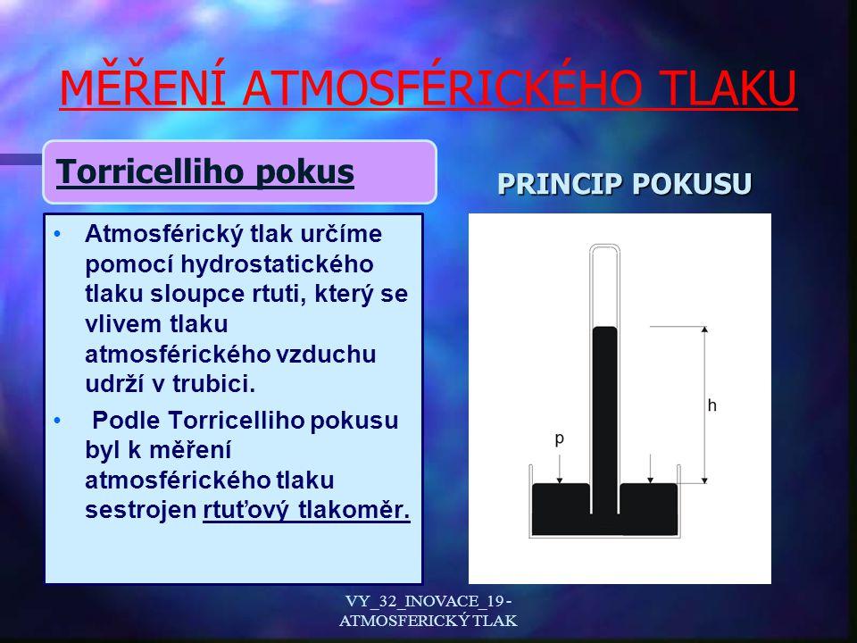 MĚŘENÍ ATMOSFÉRICKÉHO TLAKU Torricelliho pokus Atmosférický tlak určíme pomocí hydrostatického tlaku sloupce rtuti, který se vlivem tlaku atmosférického vzduchu udrží v trubici.