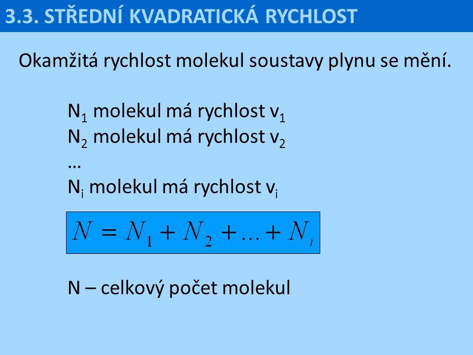 3.3. STŘEDNÍ KVADRATICKÁ RYCHLOST Okamžitá rychlost molekul soustavy plynu se mění. N 1 molekul má rychlost v 1 N 2 molekul má rychlost v 2 … N i mole
