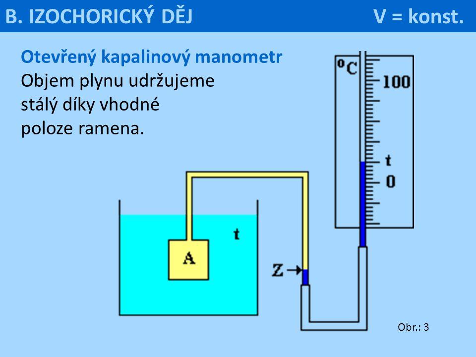 Otevřený kapalinový manometr Objem plynu udržujeme stálý díky vhodné poloze ramena. Obr.: 3 B. IZOCHORICKÝ DĚJ V = konst.