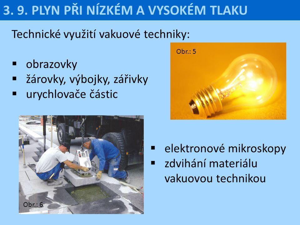 Technické využití vakuové techniky:  obrazovky  žárovky, výbojky, zářivky  urychlovače částic 3. 9. PLYN PŘI NÍZKÉM A VYSOKÉM TLAKU  elektronové m