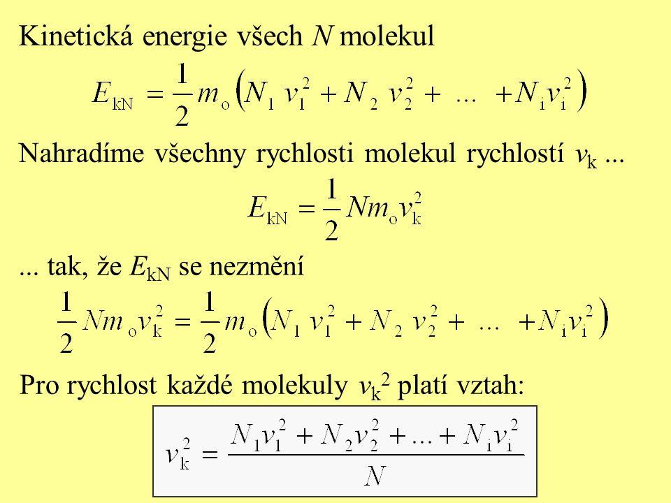 Nahradíme všechny rychlosti molekul rychlostí v k......