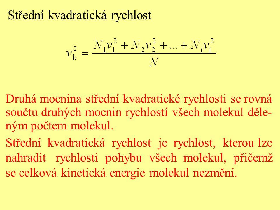 Druhá mocnina střední kvadratické rychlosti se rovná součtu druhých mocnin rychlostí všech molekul děle- ným počtem molekul.