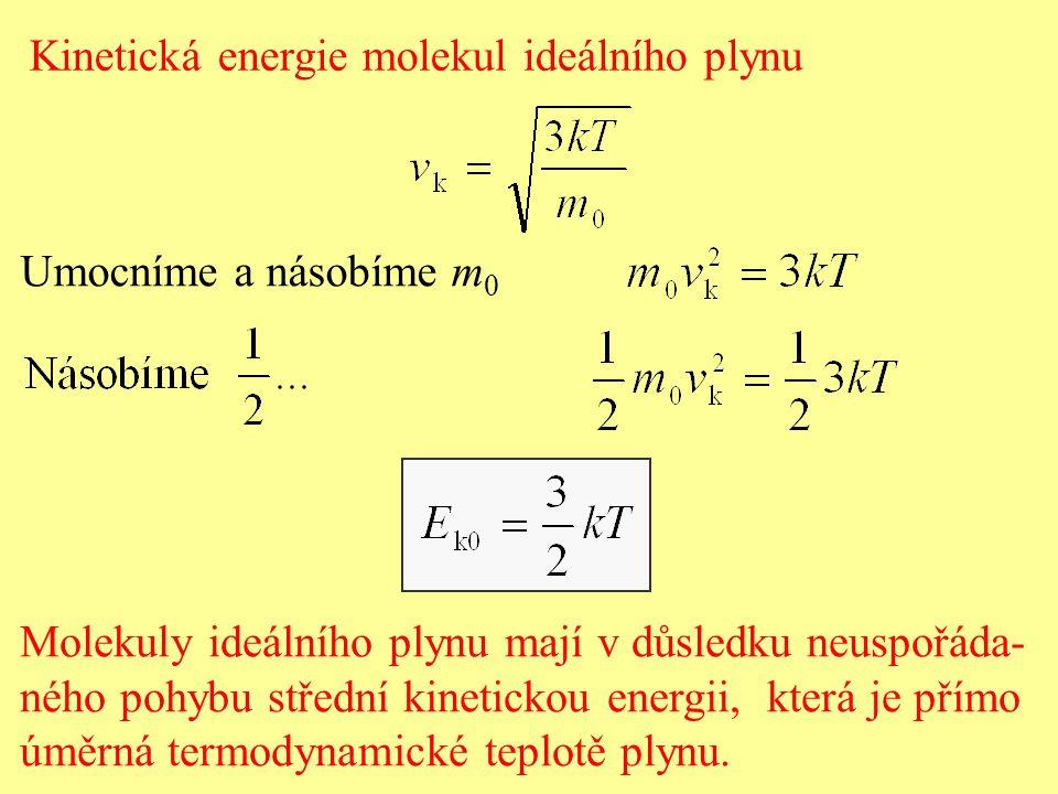 Umocníme a násobíme m 0 Molekuly ideálního plynu mají v důsledku neuspořáda- ného pohybu střední kinetickou energii, která je přímo úměrná termodynamické teplotě plynu.