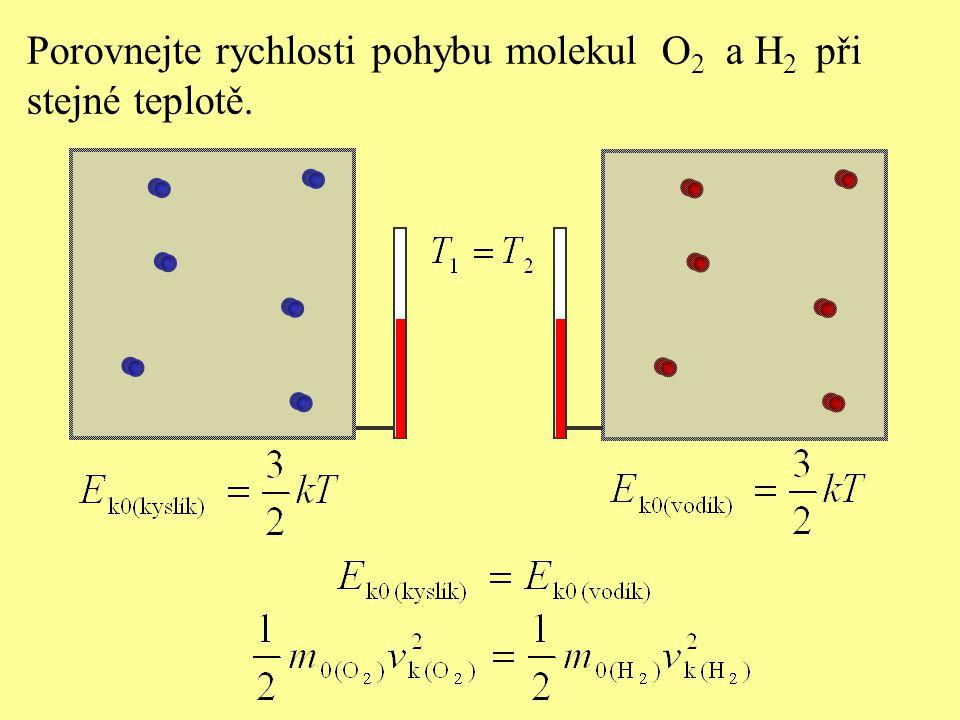 Porovnejte rychlosti pohybu molekul O 2 a H 2 při stejné teplotě.
