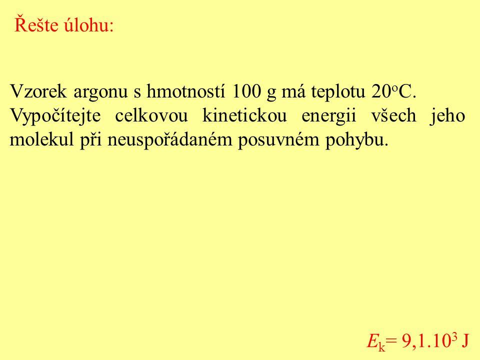 Vzorek argonu s hmotností 100 g má teplotu 20 o C.