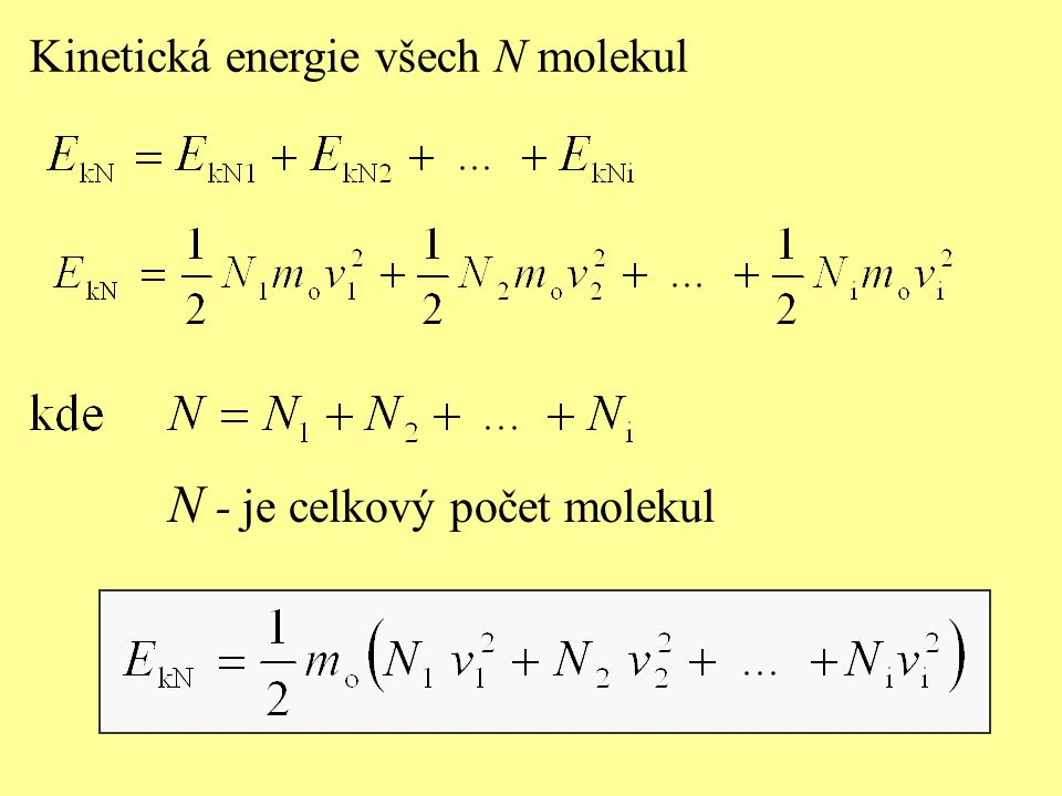 Kinetická energie všech N molekul N - je celkový počet molekul