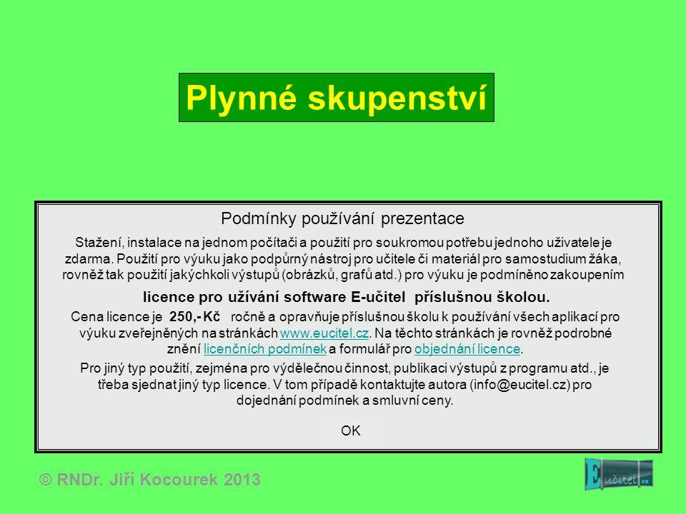 © RNDr. Jiří Kocourek 2013 Plynné skupenství Podmínky používání prezentace Stažení, instalace na jednom počítači a použití pro soukromou potřebu jedno