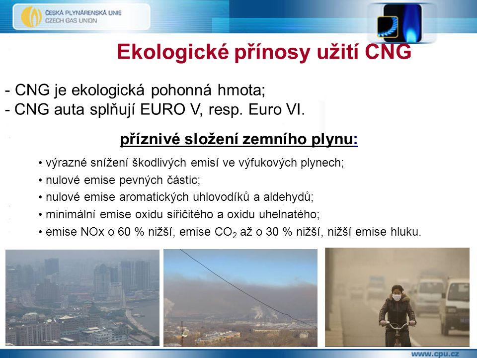 Ekologické přínosy užití CNG - CNG je ekologická pohonná hmota; - CNG auta splňují EURO V, resp. Euro VI. příznivé složení zemního plynu: výrazné sníž
