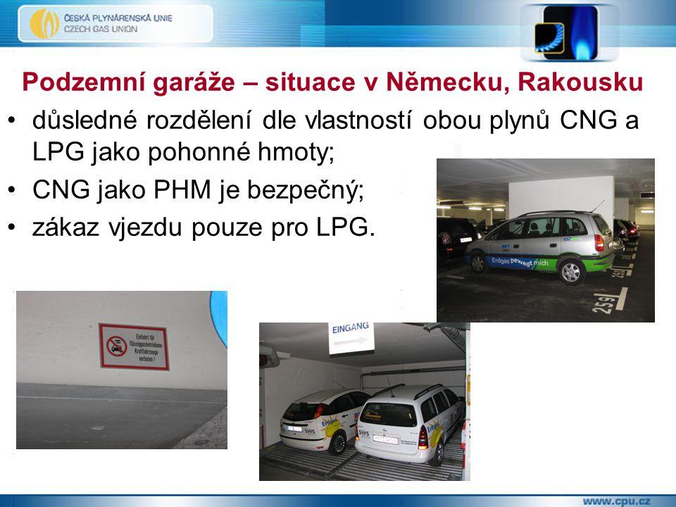 Podzemní garáže – situace v Německu, Rakousku důsledné rozdělení dle vlastností obou plynů CNG a LPG jako pohonné hmoty; CNG jako PHM je bezpečný; zák
