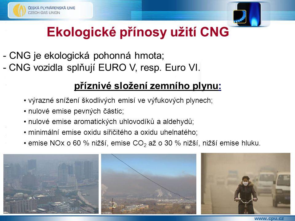 Ekologické přínosy užití CNG - CNG je ekologická pohonná hmota; - CNG vozidla splňují EURO V, resp.