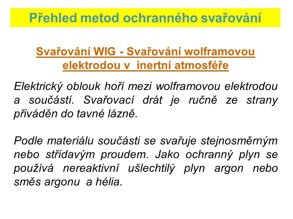 Přehled metod ochranného svařování Svařování WIG - Svařování wolframovou elektrodou v inertní atmosféře Elektrický oblouk hoří mezi wolframovou elektrodou a součástí.
