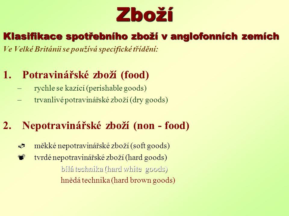 Zboží Klasifikace spotřebního zboží v anglofonních zemích Ve Velké Británii se používá specifické třídění: 1.Potravinářské zboží (food) –rychle se kaz