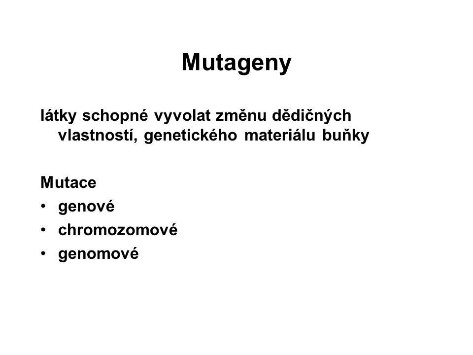 Mutageny látky schopné vyvolat změnu dědičných vlastností, genetického materiálu buňky Mutace genové chromozomové genomové