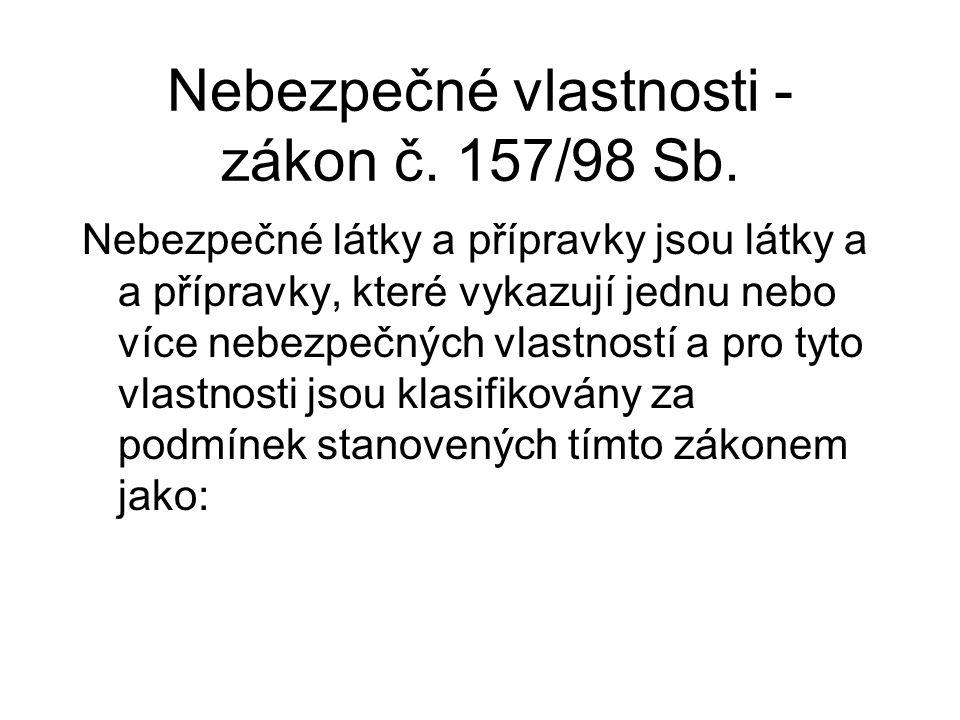 Nebezpečné vlastnosti - zákon č.157/98 Sb.