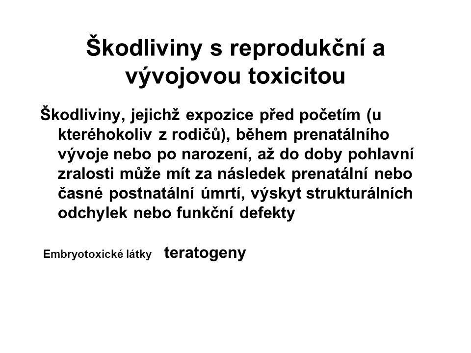 Škodliviny s reprodukční a vývojovou toxicitou Škodliviny, jejichž expozice před početím (u kteréhokoliv z rodičů), během prenatálního vývoje nebo po narození, až do doby pohlavní zralosti může mít za následek prenatální nebo časné postnatální úmrtí, výskyt strukturálních odchylek nebo funkční defekty Embryotoxické látky teratogeny
