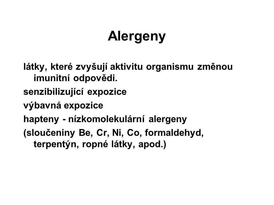 Alergeny látky, které zvyšují aktivitu organismu změnou imunitní odpovědi.