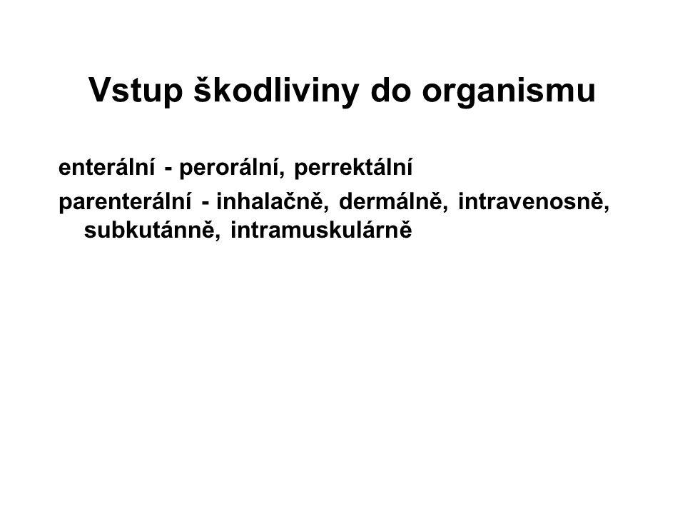 Vstup škodliviny do organismu enterální - perorální, perrektální parenterální - inhalačně, dermálně, intravenosně, subkutánně, intramuskulárně
