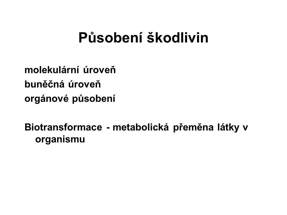 Působení škodlivin molekulární úroveň buněčná úroveň orgánové působení Biotransformace - metabolická přeměna látky v organismu