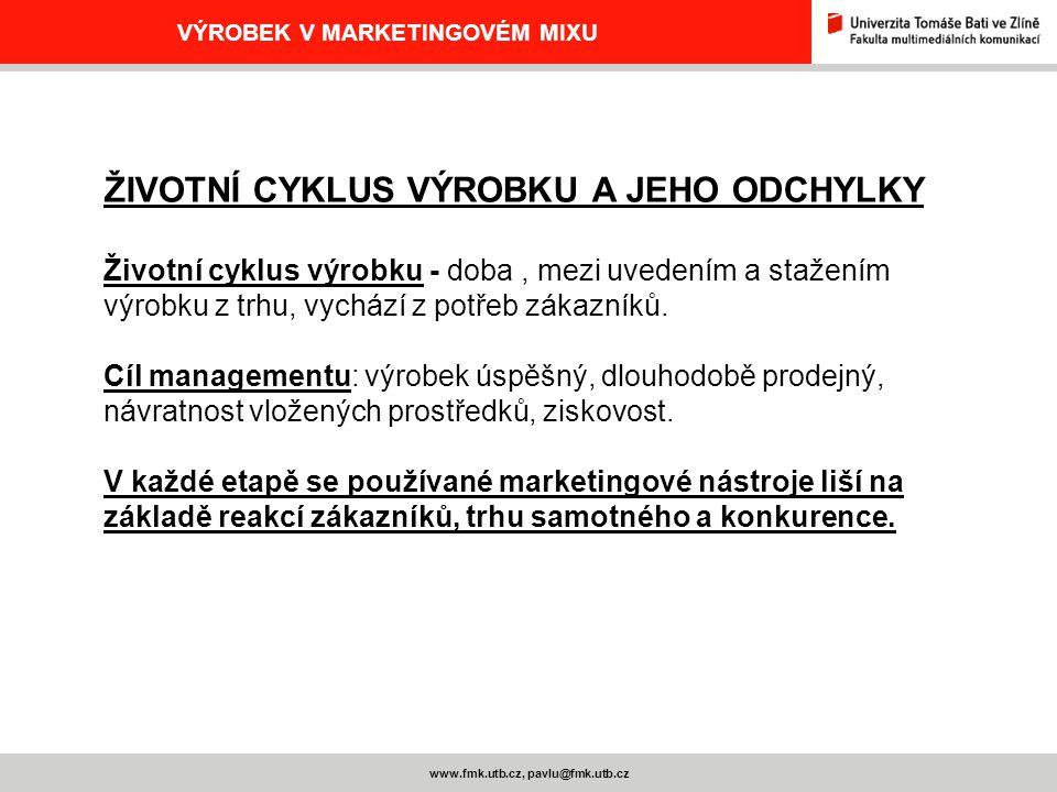 www.fmk.utb.cz, pavlu@fmk.utb.cz VÝROBEK V MARKETINGOVÉM MIXU ŽIVOTNÍ CYKLUS VÝROBKU A JEHO ODCHYLKY Životní cyklus výrobku - doba, mezi uvedením a st
