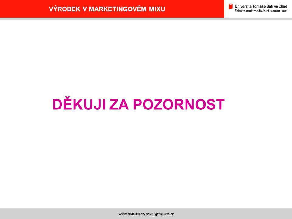 www.fmk.utb.cz, pavlu@fmk.utb.cz VÝROBEK V MARKETINGOVÉM MIXU DĚKUJI ZA POZORNOST