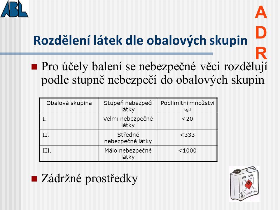 Označení vozidel přepravující nebezpečné věci ADRADR Bezpečnostní značka Tabulka s identifikačními čísly