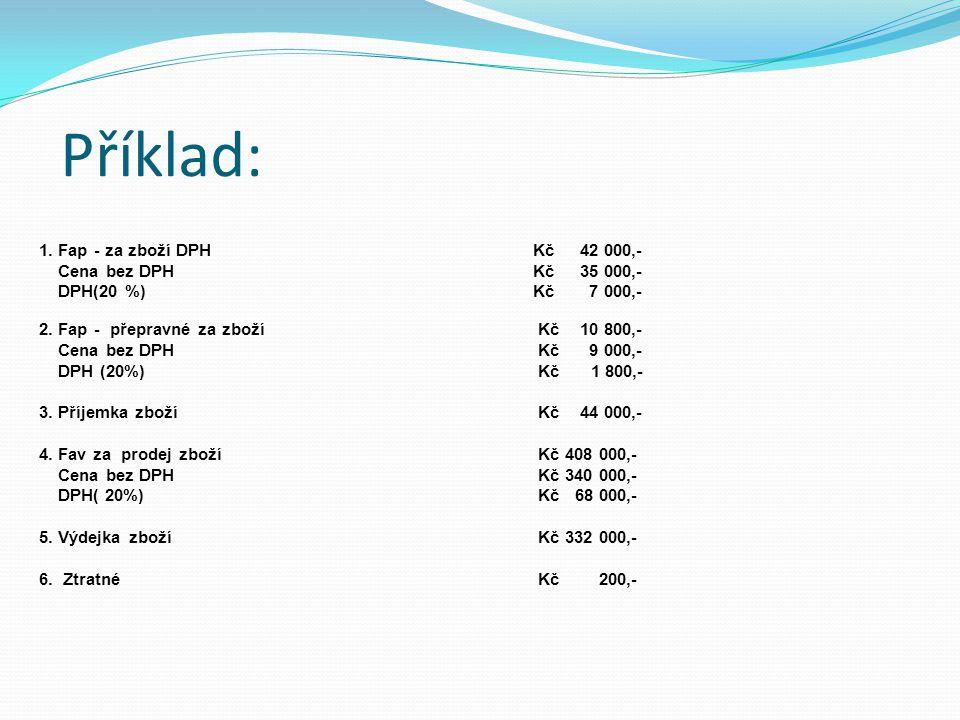 Příklad: 1. Fap - za zboží DPH Kč 42 000,- Cena bez DPH Kč 35 000,- DPH(20 %) Kč 7 000,- 2. Fap - přepravné za zboží Kč 10 800,- Cena bez DPH Kč 9 000