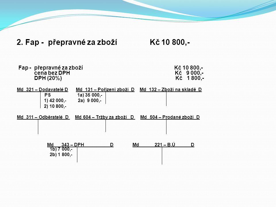 2. Fap - přepravné za zboží Kč 10 800,- Fap - přepravné za zboží Kč 10 800,- cena bez DPH Kč 9 000,- DPH (20%) Kč 1 800,- Md 321 – Dodavatelé D Md 131