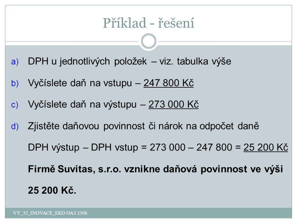Příklad - řešení a) DPH u jednotlivých položek – viz. tabulka výše b) Vyčíslete daň na vstupu – 247 800 Kč c) Vyčíslete daň na výstupu – 273 000 Kč d)