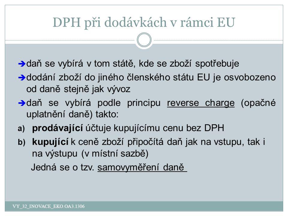 DPH při dodávkách v rámci EU  daň se vybírá v tom státě, kde se zboží spotřebuje  dodání zboží do jiného členského státu EU je osvobozeno od daně st