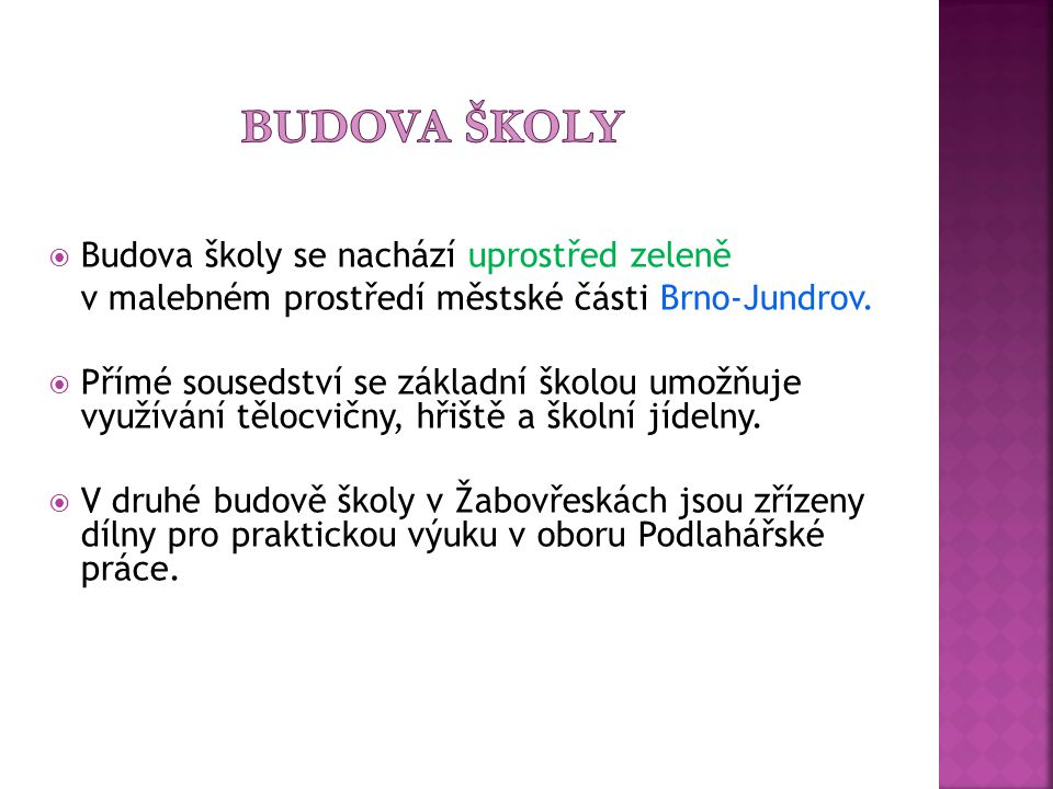   541220464 (i fax)  541220083  Zástupce školy: Mgr. Josef Žáček   E-mail: mpartl@volny.cz  www stránky: www.ssbrno.cz Ředitel školy: Mgr