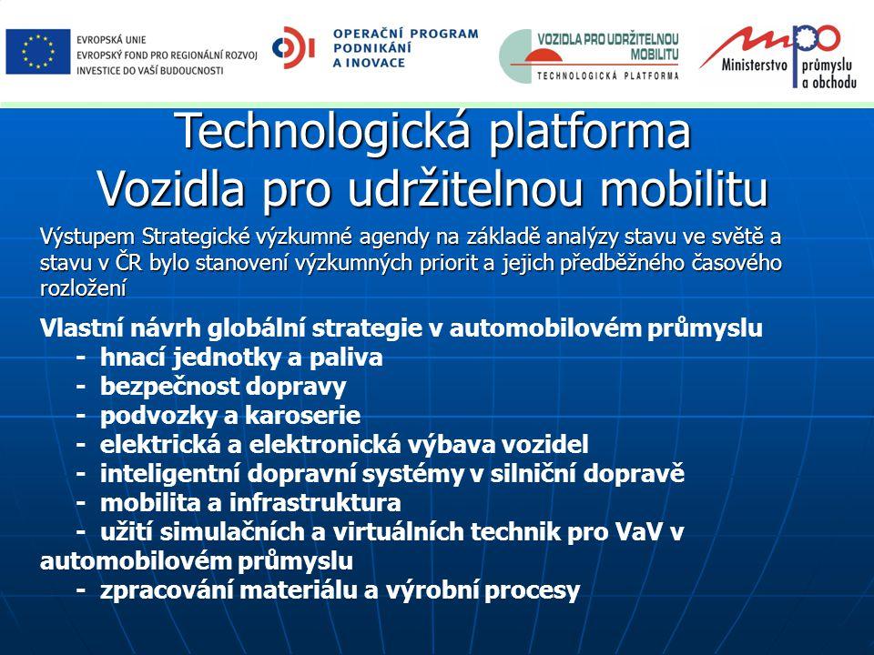 Technologická platforma Vozidla pro udržitelnou mobilitu Analýza stavu ve světě se ukázala v přiměřeném souladu s CARS 2020: Action Plan for a competitive and sustainable automotive industry in Europe (November 2012) - společenské výzvy: účinnost a dekarbonizace (uhlík z fosilních paliv, závislost na politicky nestabilních regionech), bezpečnost a spolehlivost dopravy, konkurenceschopnost; - zhodnocení přínosů musí být komplexní, tj.