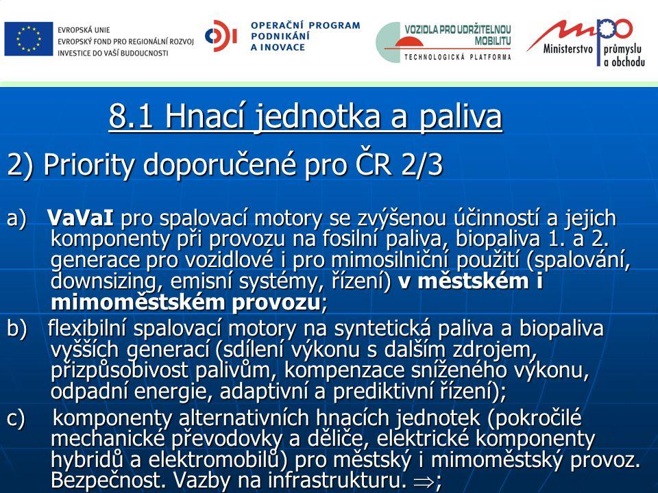 2) Priority doporučené pro ČR 2/3 a) VaVaI pro spalovací motory se zvýšenou účinností a jejich komponenty při provozu na fosilní paliva, biopaliva 1.