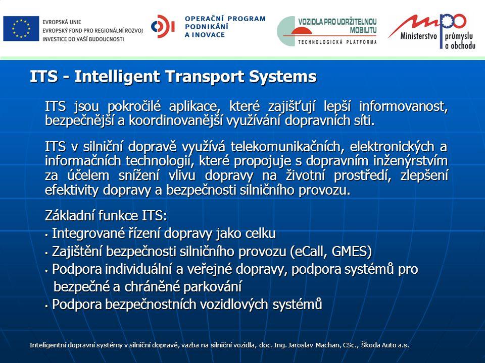 ITS jsou pokročilé aplikace, které zajišťují lepší informovanost, bezpečnější a koordinovanější využívání dopravních síti.