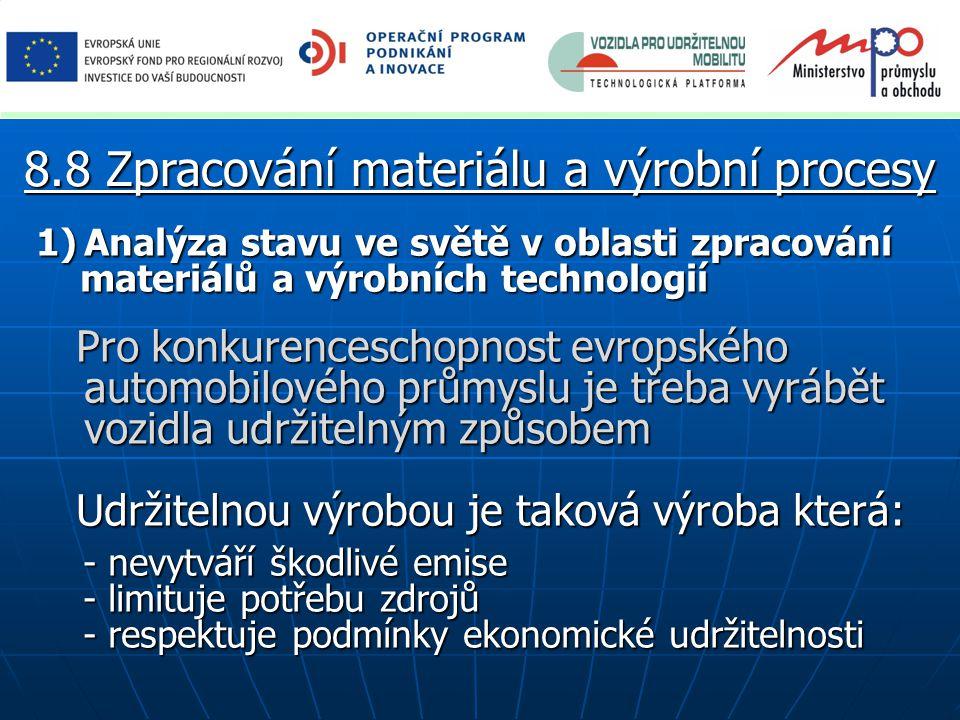 1)Analýza stavu ve světě v oblasti zpracování materiálů a výrobních technologií materiálů a výrobních technologií Pro konkurenceschopnost evropského automobilového průmyslu je třeba vyrábět vozidla udržitelným způsobem Pro konkurenceschopnost evropského automobilového průmyslu je třeba vyrábět vozidla udržitelným způsobem Udržitelnou výrobou je taková výroba která: Udržitelnou výrobou je taková výroba která: - nevytváří škodlivé emise - nevytváří škodlivé emise - limituje potřebu zdrojů - limituje potřebu zdrojů - respektuje podmínky ekonomické udržitelnosti - respektuje podmínky ekonomické udržitelnosti 8.8 Zpracování materiálu a výrobní procesy