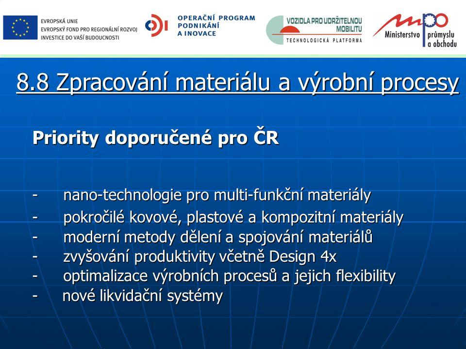 Priority doporučené pro ČR -nano-technologie pro multi-funkční materiály -pokročilé kovové, plastové a kompozitní materiály -moderní metody dělení a spojování materiálů -zvyšování produktivity včetně Design 4x -optimalizace výrobních procesů a jejich flexibility - nové likvidační systémy 8.8 Zpracování materiálu a výrobní procesy