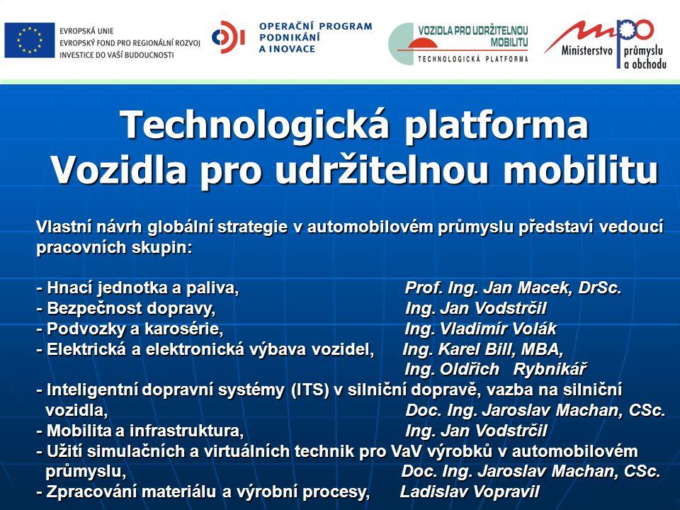 Technologická platforma Vozidla pro udržitelnou mobilitu Vlastní návrh globální strategie v automobilovém průmyslu představí vedoucí pracovních skupin: - Hnací jednotka a paliva, Prof.