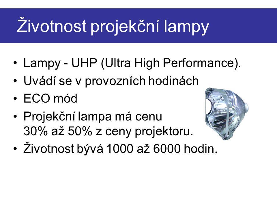 Životnost projekční lampy Lampy - UHP (Ultra High Performance). Uvádí se v provozních hodinách ECO mód Projekční lampa má cenu 30% až 50% z ceny proje