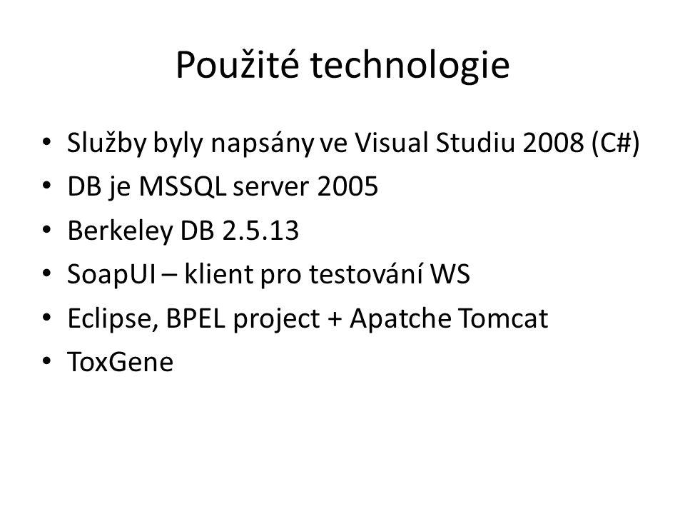 Použité technologie Služby byly napsány ve Visual Studiu 2008 (C#) DB je MSSQL server 2005 Berkeley DB 2.5.13 SoapUI – klient pro testování WS Eclipse, BPEL project + Apatche Tomcat ToxGene