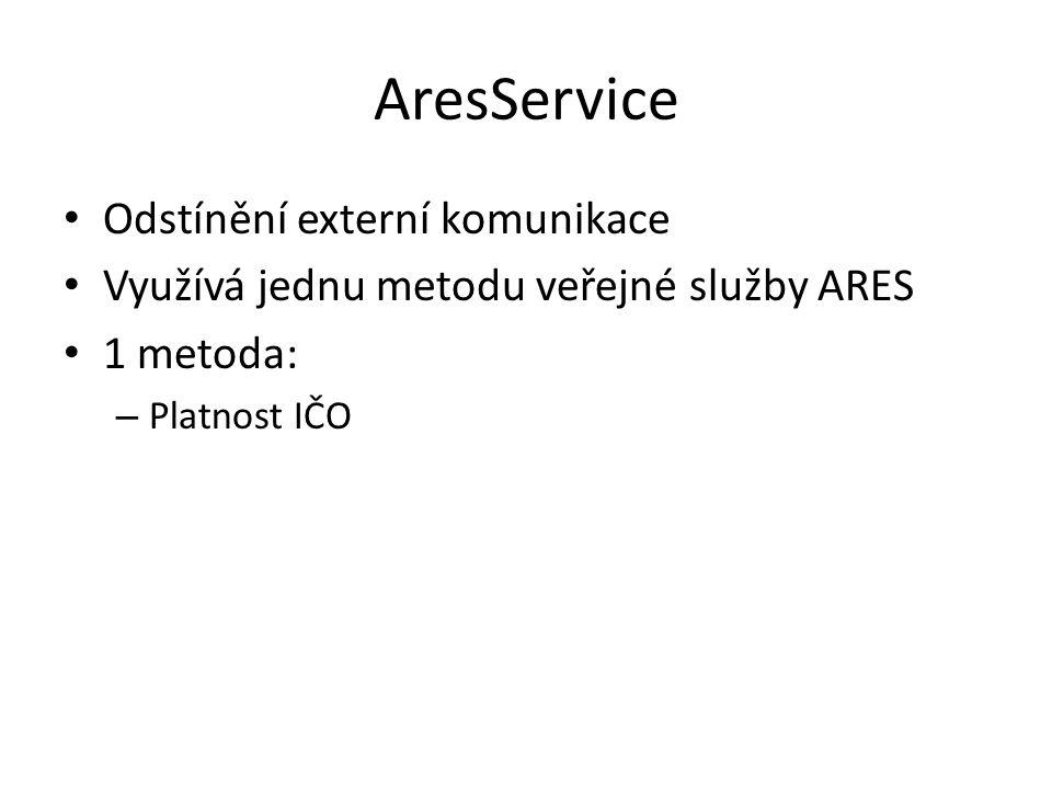 AresService Odstínění externí komunikace Využívá jednu metodu veřejné služby ARES 1 metoda: – Platnost IČO